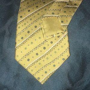 Authentic HERMES silk iridescent yellow/blue tie